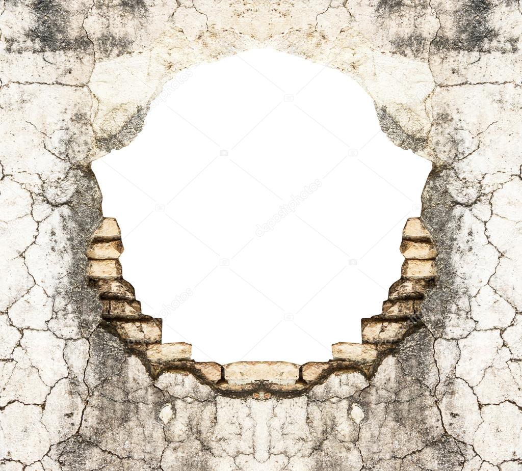 Hourwall Classicbrick Vintagewhite: Hole In Old Brick Wall And Concrete Vintage Background