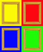 золотой раме, изолированные на красочный фон — Стоковое фото