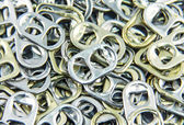 Ring pull aluminum of cans, background — Stock Photo