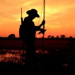 Surveyor worker make data collection with GPS surveying , Silhouette — Stock Photo #36708717
