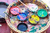 Renk boya ve fırça — Stok fotoğraf