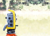 The total station. The geodetic and topography measuring tool. — Stock Photo