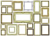 空白スペースで、白で隔離されるヴィンテージのゴールデン フレームのセット — ストック写真