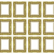 Set of vintage golden frame with blank space and clipping path — Stock Photo