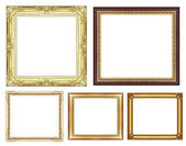 Set of vintage golden frame with blank space and clipping path — Stock fotografie