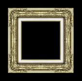 Vintage golden frame with blank space on black background and cl — Stock Photo
