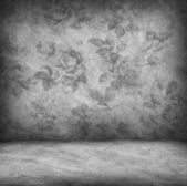 Concrete wall and floor texture with rose wallpaper , Grunge des — Stock Photo