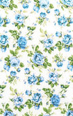 Blue Rose Fabric background, Fragment of colorful retro tapestry — Stock Photo
