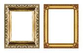 Reeks van vintage gouden frame met lege ruimte geïsoleerd op witte b — Stockfoto