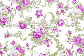 Purple rose on white fabric background, Fragment of colorful ret — Stock Photo