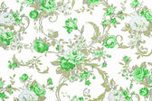 Green rose on white fabric background, Fragment of colorful retr — Stockfoto
