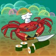 Stock Vector: Crab chef prepares sushi