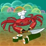 蟹厨师准备寿司 — 图库矢量图片