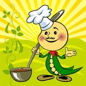 Soya bean chef — Stock Vector