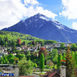 Swiss peak near Spiez - Stock Photo