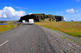 Road with trailers in Iceland — Stock Photo