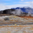 Stock Photo: Geothermal areand mountain