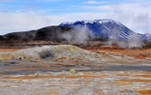 Geothermal area and mountain — Stock Photo