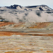 Stock Photo: Myvatn mountain and smoke