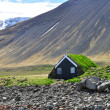 Little icelandic house under mountain — Stock Photo