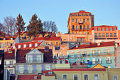 Lisbon baixa on sunset — Stock Photo