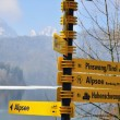 Hiking sign in Bavarian Alps — Stock Photo