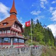 Swiss chalet in mountains — Stock Photo