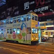 Double-decker tram at night — Stock Photo