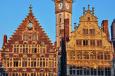 Houses of Ghent on sunset — Stock Photo