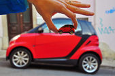 Smart: car and model — Stock Photo
