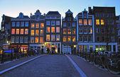 Amsterdam street at night — Stock Photo