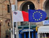 Flags of Malta and EU — Stock Photo