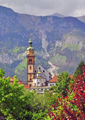 Bell tower in tyrolean Alps — Stock Photo