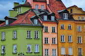 Multicolor facades of Warsaw houses — Stock Photo