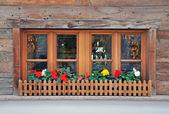 Okno z kwiatami — Zdjęcie stockowe