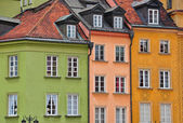 Colorful facades of Warsaw — Stock Photo