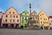 Cesky Krumlov: the main square — Stock Photo