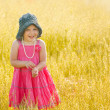 Smiling young girl in pink dress and gray hat standing in a — Stock Photo #26028401