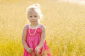 Beautiful little girl on a meadow — Stock Photo
