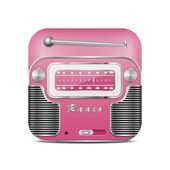 Pink retro radio icon — Stock Vector
