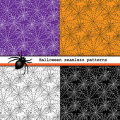 Spider web seamless patterns — Stock Vector