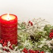 Advent Candle of Christmas Season — Stock Photo