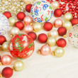 Christmas Ornaments on Silk — Stock Photo