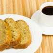 Banana Bread Slices with Coffee — Stock Photo