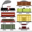 Stock Vector: Steam Locomotive Train Set