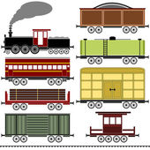 Steam Locomotive Train Set — Stock Vector