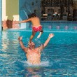 Free karate lesson in the pool — Stock Photo