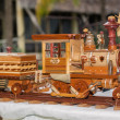 Old vintage style handcrafted wooden steam train — Foto de Stock