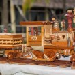 图库照片: Old vintage style handcrafted wooden steam train