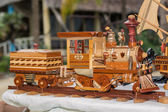 Old vintage style handcrafted wooden steam train — Stock Photo